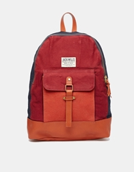 Jack Wills Colour Block Backpack With Leather Trim Multi