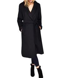 Miss Selfridge Solid Wool Blend Coat Black