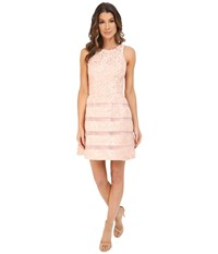 Aidan Mattox Jackquard Cocktail Dress With Illusion Stripe Skirt Detail Blush Women's Dress Pink
