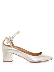 Aquazzura Sweet Thing Leather Block Heel Pumps Gold