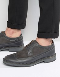 Selected Homme Ronald Leather Brogue Shoes Grey
