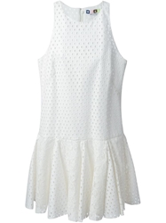 Msgm Lace Hem Perforated Dress White