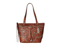American West Lady Lace Zip Top Bucket Tote Antique Brown Turquoise Tote Handbags