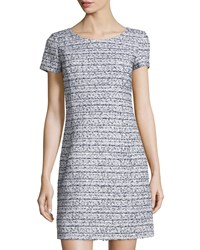 Oscar De La Renta Tweed Short Sleeve Sheath Dress Navy White