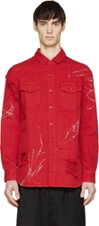 Off White Red Distressed And Painted Shirt