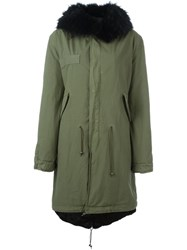 Mr And Mrs Italy Rabbit Raccoon Fur Lined Parka Green