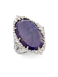 Judith Ripka Sophia Navy Sapphire White Sapphire And Sterling Silver Oval Ring