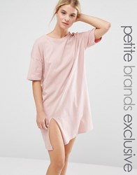 One Day Petite Oversized T Shirt Dress With Split Blush Pink