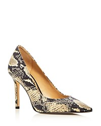 Sam Edelman Hazel Snake Embossed Pointed Toe Pumps White Black