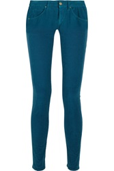 M Missoni Mid Rise Stretch Corduroy Skinny Jeans Blue