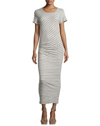 James Perse Short Sleeve Ruched Maxi Dress Heather Gray Natural