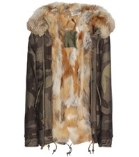 Mr And Mrs Italy Mini Camouflage Fur Lined Virgin Wool Blend Parka Multicoloured
