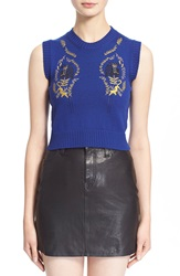 Vivetta Sleeveless Embroidered Merino Wool Sweater Blue Klein Black