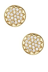 Argentovivo 18K Gold Plated Sterling Silver Pave Circle Stud Earrings Metallic