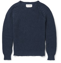 Ribbed Knit Cotton Sweater Blue