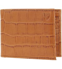 Aspinal Of London Bifold Crocodile Embossed Leather Wallet Tan