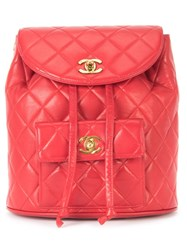 Chanel Vintage Quilted Chain Backpack Red