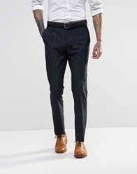 Asos Slim Suit Trousers In Check Navy