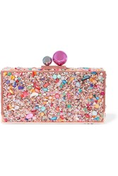 Sophia Webster Clara Crystal Embellished Metal Clutch Pink
