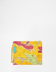 Echo Pouch Clutch Bag With Map Of Mexico Coral Orange