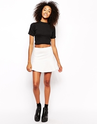 Daisy Street Scuba Skirt With Peplum Hem White