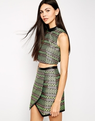 Lashes Of London Aztec Jacquard High Neck Top Green