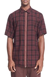 Men's Chapter Trim Fit Zip Front Short Sleeve Shirt Red Plaid