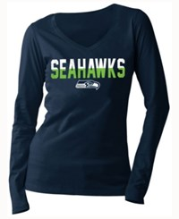 5Th And Ocean Women's Seattle Seahawks Huddle Le Long Sleeve T Shirt Navy