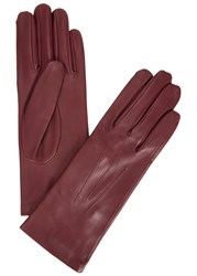Dents Burgundy Silk Lined Leather Gloves