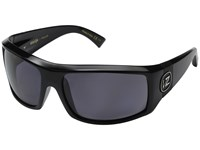 Von Zipper Clutch Polarized Black Gloss Vintage Grey Wildlife Polarized Lens Fashion Sunglasses Gray