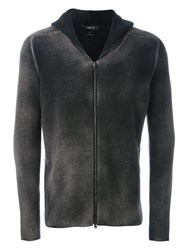 Avant Toi Shaded Effect Zip Up Cardigan Grey