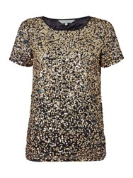 Gray And Willow Gael Graduated Sequin Tee Navy