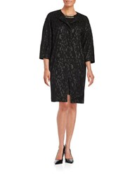 Adrianna Papell Lace Button Down Jacket Black