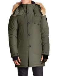 Nobis Johan Coyote Fur Trimmed Long Jacket Army Green