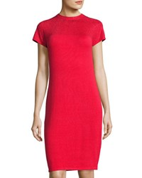 Neiman Marcus Beaded Short Sleeve Dress Red