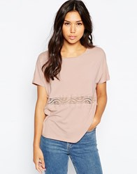 Vero Moda Short Sleeve Top With Lace Panel Pink