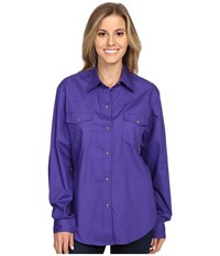 Roper L S Solid Basic Snap Front Purple Women's Long Sleeve Button Up
