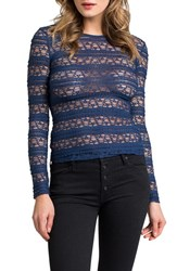 Lamade Women's Banded Lace Long Sleeve Top Egyptian Blue