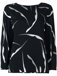 Diane Von Furstenberg Abstract Print Longsleeved Blouse Black