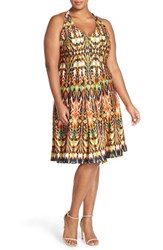 Gabby Skye Plus Size Women's Ikat Print Fit And Flare Dress