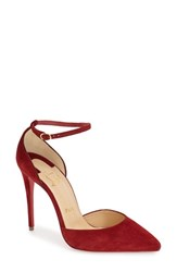 Christian Louboutin Women's Uptown Ankle Strap Pointy Toe Pump Red Suede