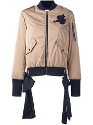 Msgm Zip Up Bomber Jacket Nude And Neutrals