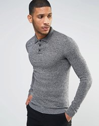Asos Muscle Fit Knitted Polo In Cotton B And W Twist Grey