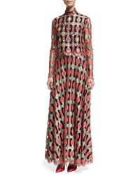 Libertine Long Sleeve Embellished Vintage Galanos Dress Red Pattern