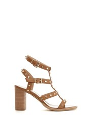 Mint Velvet Tan Billie Studded Strap Sandal Brown