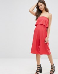 Influence Ruffle Strapless Jumpsuit Coral Pink