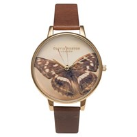 Olivia Burton Ob13wl11 Women's Woodland Butterfly Leather Strap Watch Brown Cream