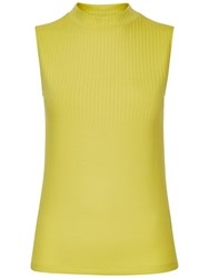 Jaeger Ribbed Funnel Neck Top Green