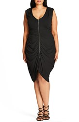 City Chic Plus Size Women's Sleeveless Ruched Zip Front Dress