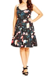 City Chic Plus Size Women's 'Floral Delight' Floral Print Fit And Flare Dress